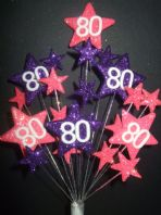 Star age 80th birthday cake topper decoration in bright pink and purple - free postage